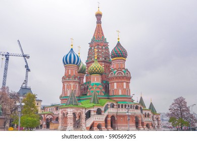 The scenic orthodox Saint Basil's Cathedral, iconic landmark on Red Square in Moscow, Russia