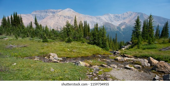Scenic Overlook Along A Canadian Rockies Trail