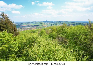Scenic overlook from the Luisenturm in the Teutoburger Wald, Terra vita Natural Preserve, East Westphalia, Germany