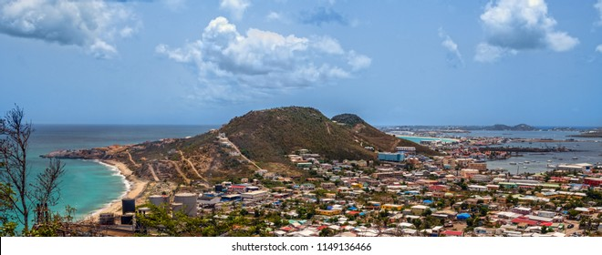 A scenic overlook panoramic view of St Marteen of the US Virgin Islands.