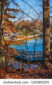 A scenic overlook of Smithville Lake with Autumn leaves in Burlington County New Jersey.