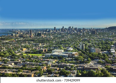 Scenic panorama of the city of Montreal. Quebec, Canada.