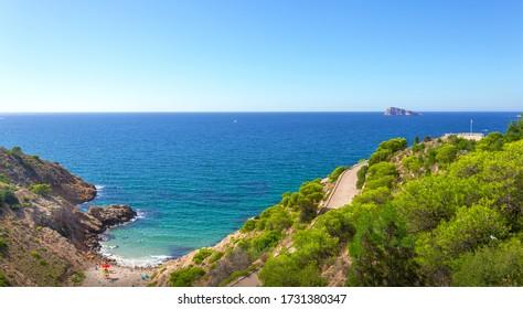 Scenic panorama of the coast from the Sierra Helada Natural Park. Benidorm. Costa Blanca. Valencia. Spain.