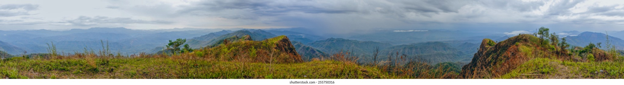 Scenic panorama of green valley in Mizoram, India