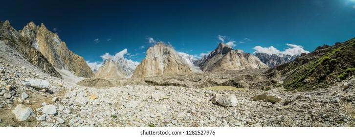 Scenic panorama of Karakoram Mountain Range on route to K2 base camp