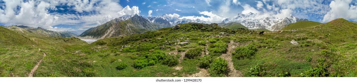 Scenic panorama of landscape around Nanga Parbat mountain in Himalayas in Pakistan on sunny summer day.