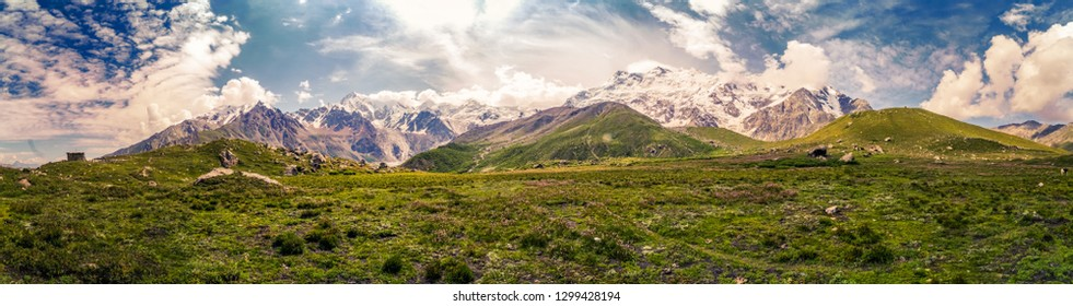 Scenic panorama of magnificient Nanga Parbat mountain in Himalayas in Pakistan on sunny summer day.