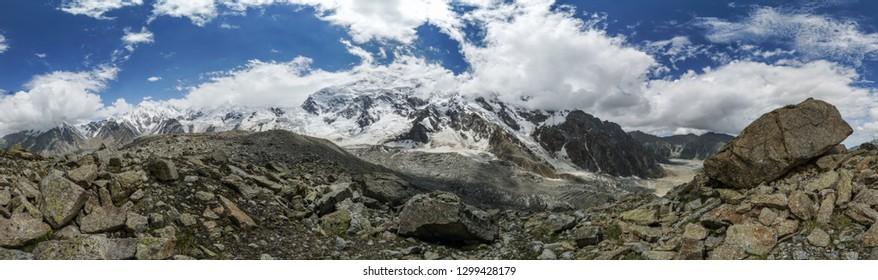 Scenic panorama of majestic Nanga Parbat mountain in Himalayas in Pakistan.