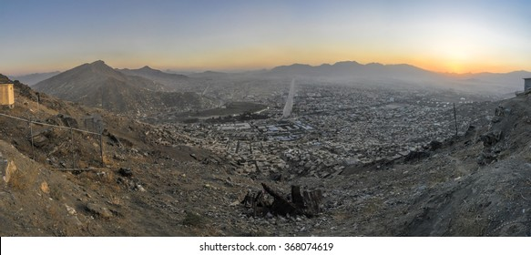 Scenic panorama of sunset in Kabul, Afghanistan