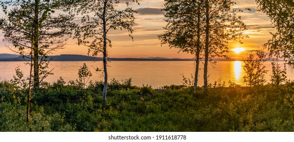 Scenic Panorama - Sunset over Umea river in mountains, summer sky with clouds highlighted by orange Sun. Blurry foreground with trees at coastline. Sunlight path on water. Storuman, Lapland, Sweden