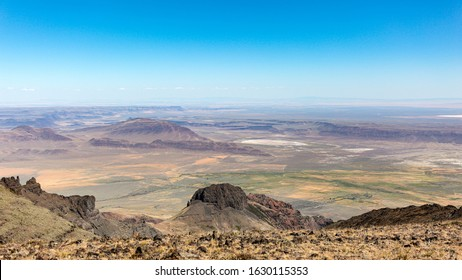 Scenic panorama view at Alvord  Lake and Alvord desert from East Rim overlook, Steens Mountain, Oregon