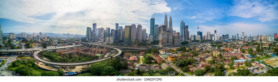 Scenic panoramic aerial view of Kuala Lumpur cityscape skyline, morning scene, Malaysia .