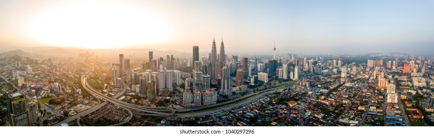 Scenic panoramic aerial view of Kuala Lumpur cityscape skyline, early morning sunrise scene, Malaysia .
