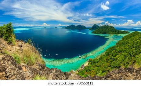 scenic panoramic top view of Bohey Dulang Island Semporna, Sabah.