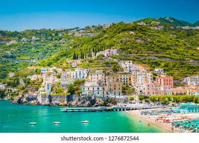 Scenic panoramic view of the beautiful town of Amalfi at famous Amalfi Coast with Gulf of Salerno in summer, Campania, southern Italy