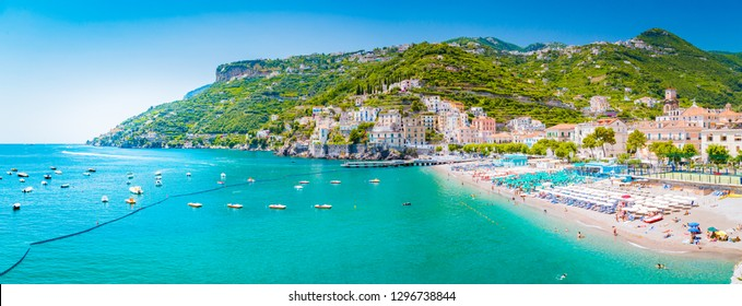 Scenic panoramic view of the beautiful town of Amalfi at famous Amalfi Coast with Gulf of Salerno in summer, Campania, Italy
