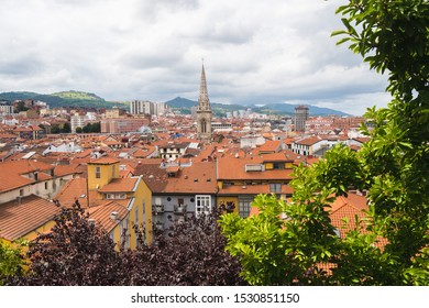 Scenic panoramic view of Bilbao city, beautiful destination in Basque county, North of Spain, Europe