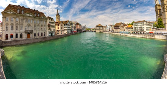 Scenic panoramic view of the city promenade and river on a sunny day. Zurich. Switzerland.