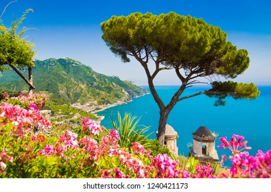 Scenic panoramic view of famous Amalfi Coast with Gulf of Salerno from Villa Rufolo gardens in Ravello, Campania, Italy