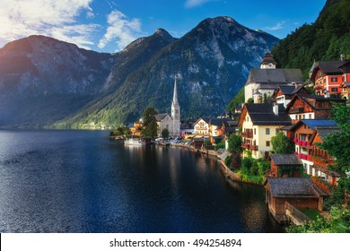 Scenic panoramic view of the famous mountain village in the Austrian Alps. Hallstatt. Austria