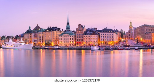 Scenic panoramic view of Gamla Stan, in the Old Town in Stockholm during morning blue hour, capital of Sweden