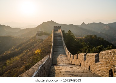 Scenic panoramic view of the Great Wall Jinshanling portion close to Beijing, on a sunny day of autumn, in China, fall colors