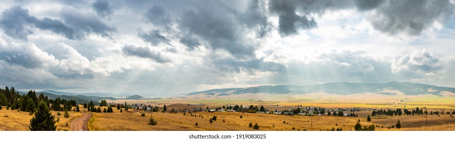 Scenic panoramic view from the hills behind Philipsburg, Montana. Philipsburg is a town in and the county seat of Granite County, Montana, United States.