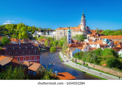 Scenic panoramic view of historic city center of Cesky Krumlov with famous Cesky Krumlov Castle and idyllic Vltava river on a beautiful sunny day with blue sky in spring, South Bohemia, Czech Republic - Shutterstock ID 1654352284