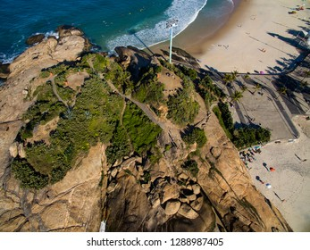 Scenic panoramic view of Ipanema Beach from the rocks at Arpoador with Rio de Janeiro skyline Brazil. Scenic panoramic view of Ipanema Beach from the rocks at Arpoador with Rio de Janeiro skyline Braz