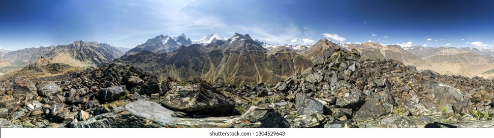 Scenic panoramic view of majestic peaks of Himalayas in northern India.