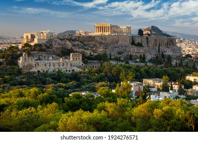 Scenic panoramic view on Acropolis in Athens, Greece at sunrise.