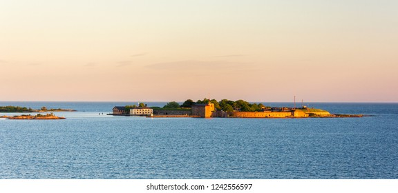 Scenic panoramic view on the island with Kungsholms Fort (coastal artillery fortress for control of Karlskrona harbour). Location place: the Baltic Sea near Karlskrona, Sweden.