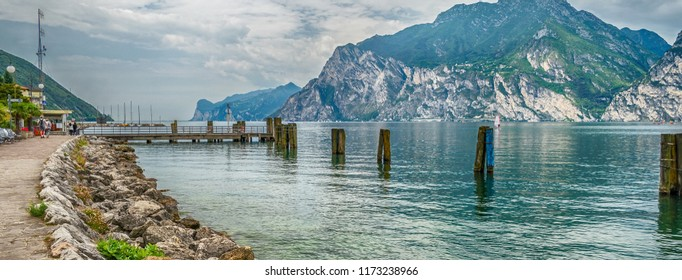 Scenic panoramic view over the Lake Garda from the town of Torbole, Italy