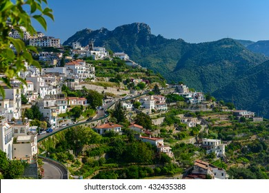 Scenic panoramic view of Ravello surroundings with agriculture terraces, Amalfi Coast,  Campania, Italy.