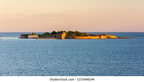 Scenic panoramic view from the sea on Kungsholms Fort on the island in the Baltic Sea near Karlskrona, Sweden.