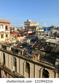 Scenic panoramic view in the sunrise morning hours over the roofs of Havana (Habana) city, capital of the Caribbean island of Cuba and a tourist destination with a vintage latin downtown neighborhood