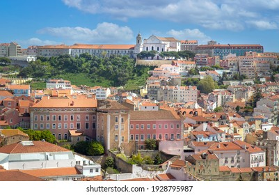 Scenic panoramic views of Lisbon from Saint George Castle (Sao Jorge) lookout.