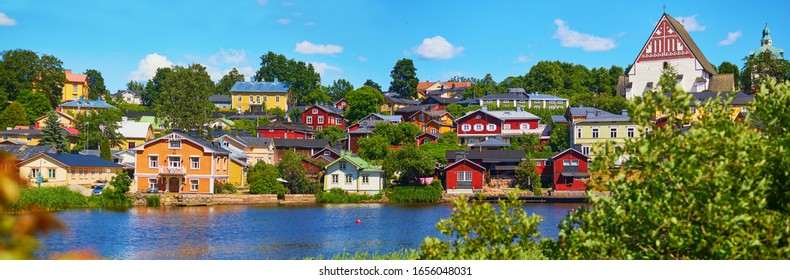 Scenic panorma of historical town of Porvoo in Finland