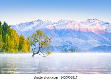 Scenic peaceful of lake wanaka in the morning, One of the places of tourist attraction in New Zealand.
