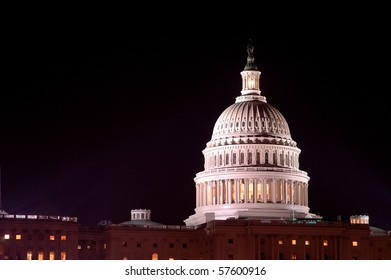 Scenic Photo from Washington DC. The Capitol Building taken at night.