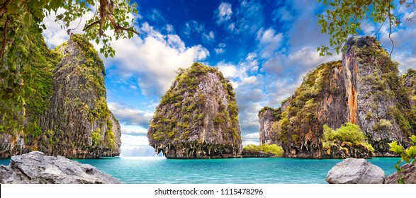 Scenic Phuket landscape. Seascape and paradisiacal and idyllic beach. Scenery Thailand sea and island .Adventures and exotic travel concept