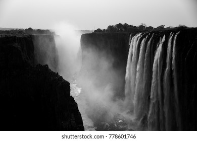 scenic picture of the victoria falls black and white photograph