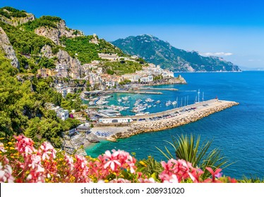 Scenic picture-postcard view of famous Amalfi Coast with beautiful Gulf of Salerno, Campania, Italy