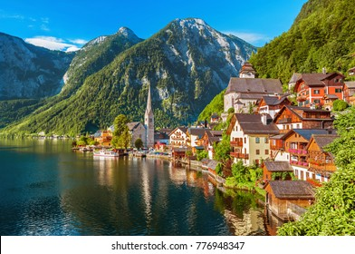 Scenic picture-postcard view of famous Hallstatt mountain village in the Austrian Alps at beautiful light in summer, Salzkammergut region, Hallstatt, Austria