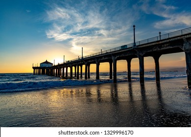 scenic pier at Manhattan Beach near Los Angeles in sunset mood
