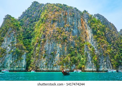 The scenic Pileh Bay lagoon of Phi Phi Leh Island is the popular site among the snorkelers and holidaymakers, making day tours around Phi Phi Archipelago, Krabi, Thailand