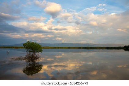 Scenic pond with clouds and reflections and mountains