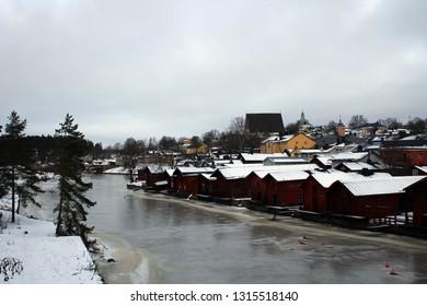 Scenic promenade in Porvoo along river, Finland