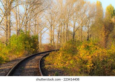 Scenic railroad in autumn in remote rural area