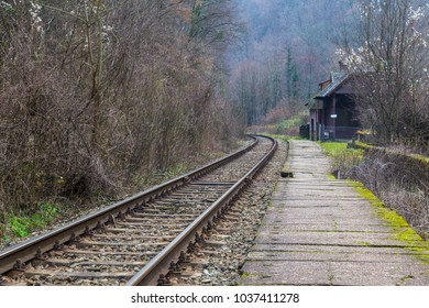 Scenic railroad in spring in remote rural area, in a mountain forest